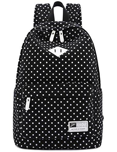 """Segeltuch-Rucksack-Reisen Schule Umhängetasche Dot Printing Jugendliche Taschen für 14 """"-15"""" Laptop PC A4 Magazin iPad 3/4 / Air (Black)"""