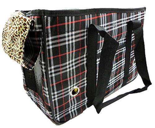 (ミウォルナ) Miwoluna ペット キャリー トート ケース 持ち運びやすい ショルダー チェック 柄 裏地が豹柄で可愛い ブラック M