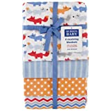 Hudson Baby Hudson Baby Flannel Receiving Blankets, Blue Fox, 4 Count
