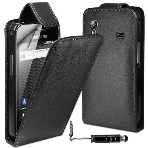 MobileAccessories4U Leather Flip Skin Case Cover, Film & Mini Stylus For Samsung Galaxy Ace S5830 - Black