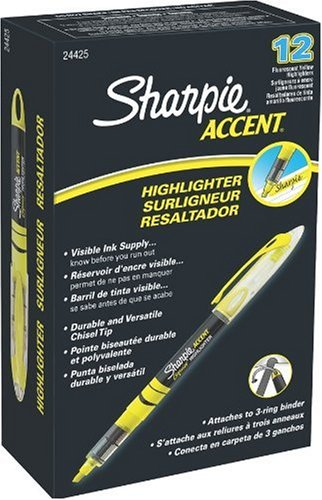 Sharpie Accent Liquid Pen-Style Highlighters, 12 Fluorescent Yellow Highlighter(24425)