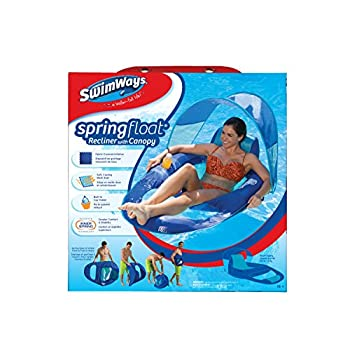 SwimWays Spring Float Recliner Pool Lounge Chair w/ Sun Canopy