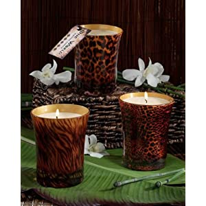 Pack of 6 Gardenia Scented Animal Print Flared Glass Candles