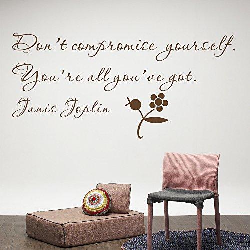 Donot da parete fai materia di compromesso che sarà Got Janis Joplin (confezione da parete, rimovibile, motivo: lettera da parete fai-da-te, vinile, marrone, Small Size