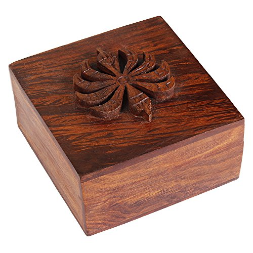 Rakhi Gift for Sister Decorative Small Wooden Ring Trinket Holder Box Jewelry Organizer Multipurpose Handcrafted Case
