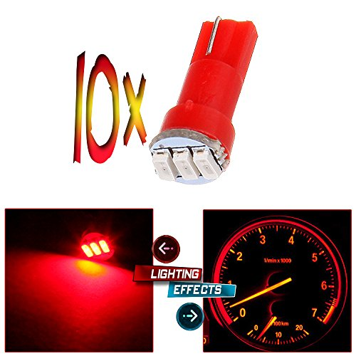 CCIYU 10x T5 74 3-3014SMD Car Dashboard Panel Gauge Side LED Light Bulbs Lamp 12V Red For 1995-1997 1999-2002 Dodge Spirit Viper Stealth B3500 B2500 Ram 3500 Ram 2500 Intrepid Avenger Durango (2000 Ford Mustang Dash compare prices)