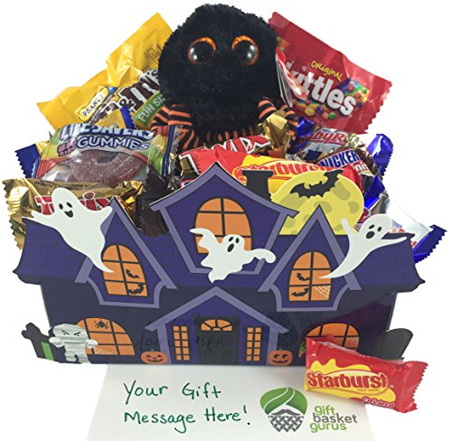 Halloween Haunted House: Candy-filled Gift Basket with TY Beanie (Spidey) (Halloween Candy Baskets)