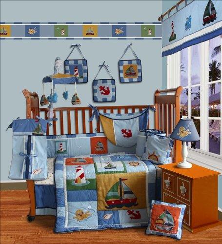 Custom Baby Bedding -Sail Away 15 PCS Crib Bedding