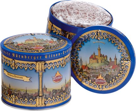 One Wicklein Gold Elisen Burg Tin, 2 Asst Lebkuchen (Chocolate & Iced), Min. 25% Nuts