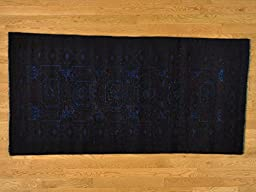 3\'x7\' Runner Overdyed Worn Persian Baluch Oriental Rug Hand Knotted G20865
