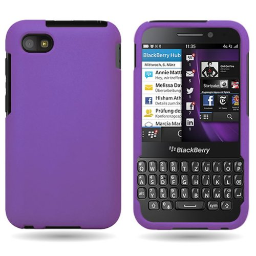 Coveron® Hard Rubberized Slim Case For Blackberry Q5 - With Cover Removal Pry Tool - Purple