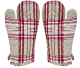 ELAN Cotton Microwave Oven Gloves 18 X 32 CM RED DOBBY CHECK (Set of 2)