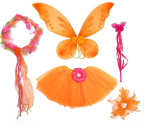 5 Pc Girls Pink and Orange Fairy Costume with Pixie Wings, Wand and Halo