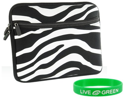 Black and White Zebra Print DualPocket Neoprene Sleeve Case for Apple iPad 32GB (iPad NOT Included)