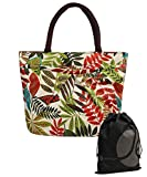 JAVOedge Colorful Fall Leaf Double Pocket Garden Lunch Bag Tote with Zipper and Handle and Bonus Drawstring Bag