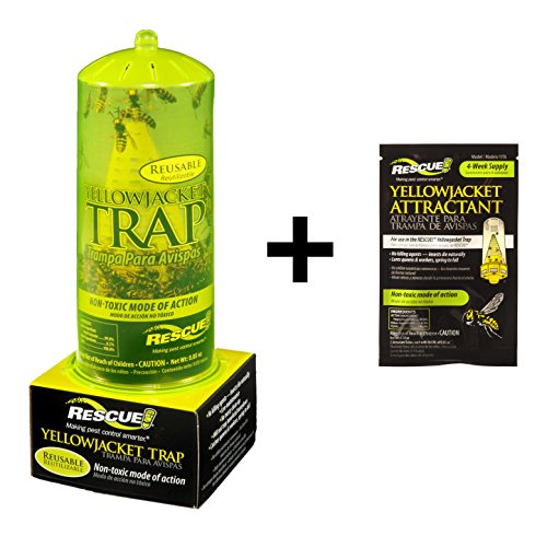 Rescue Bundle: YJTR-DT12 Reusable Yellow Jacket Trap + YJTA-DB36 Yellow Jacket 4 Week Attractant Bait Pack