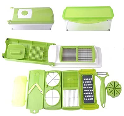 Go Plus Nicer Dicer Multi Chopper Vegetable Cutting Dicing Slicing Kitchen Gadget Peeler 11different Ways to Cut (GREEN, 1)