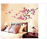 UberLyfe Tree with Pink Flower Wall Sticker (Wall Covering Area: 75cm x 165cm)