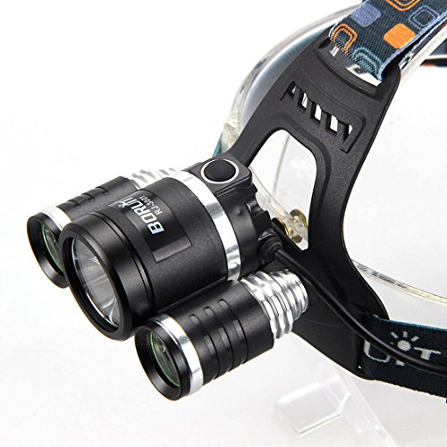 Supernal Headlight Super Output Bright Head Lamp Wall and USB Charger Flashlight Colors Black