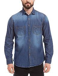 Prym Men's Casual Shirt (8907423015593_2011512006_X-Large_Dark Indigo with PP Spray)