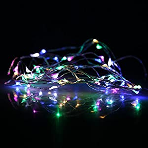 (7 Different Colors) DBPOWER 50 LED/100 LED Led String Lights 5M/10M (16.5ft/33ft) Copper Wire LED Starry Light for Outdoor, Gardens, Christmas, Homes, Wedding and Party (10M 100LED, RGB Color) by DBPOWER