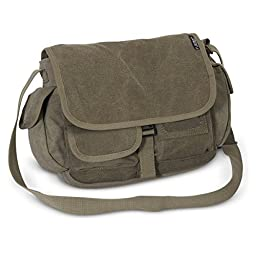 Everest Luggage Canvas Messenger, Olive, Olive, One Size