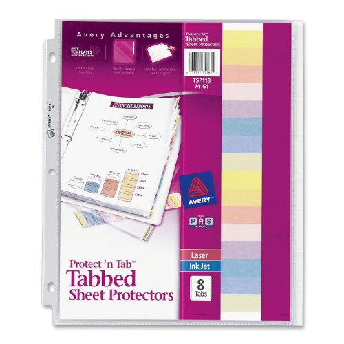Avery protect tab top load clear sheet protectors with for Letter size sheet protectors