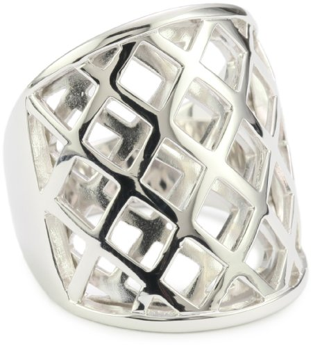 ELLE Jewelry Sterling Silver Overlapping Checkered Ring