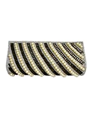 CRYSTAL PEARL EVENING CLUTCH BAG WITH DIAMANTE CHAIN