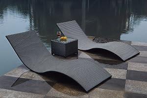 gartenm bel outlet calypso 3tlg liegen set mit beistelltisch polyrattan dunkelgrau. Black Bedroom Furniture Sets. Home Design Ideas