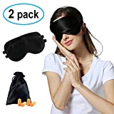 Pure & Natural Silk Sleep Mask /Blindfold, ZAMO Super Soft & Breathable Eye Mask With Satin Carry Pouch and Ear Plugs, Best Sleeping Eye Cover with Adjustable Strap -Black