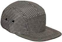 5-Panel Flat Bill Adjustable Cap Hat (Checkered Grey)
