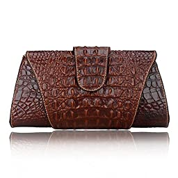 Pijushi Croco Embossed Leather Clutch Bag Cross Body Handbag 8062 (One Size, 8062 BROWN)
