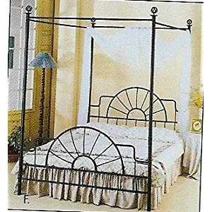 KING size Pine bed w/ beautiful wrought iron canopy and center