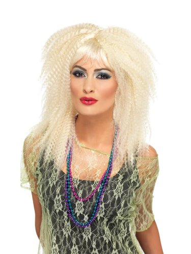 Smiffy'S 80S Trademark Crimp Wig, Blonde, One Size