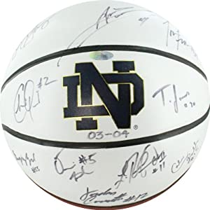 NCAA Notre Dame Fighting Irish The 2003-2004 Team Autographed Basketball, Brown by Steiner Sports