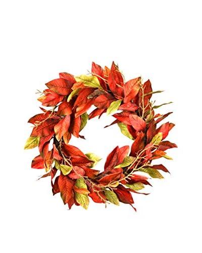 Creative Displays Magnolia Leaf Wreath, Red/Green/Gold