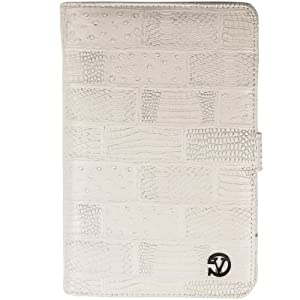 (White Textured) VG Dauphine Portfolio Case Cover for Kobo Arc 7 HD / 7 Tablet at Electronic-Readers.com