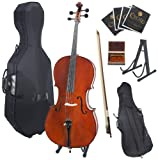 Cecilio 4/4 CCO-500 Ebony Fitted Flamed Solid Wood Cello with Hard and Soft Case, Bow, Rosin, Bridge, Strings and Stand