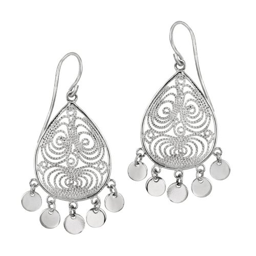Sterling Silver Medium Filigree Teardrop and 5 Polished Circle Drop French Wire Earrings