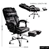 BTM LUXURY HIGH BACK EXECUTIVE FAUX LEATHER OFFICE CHAIR SWIVEL Recliner and Footstool Computer BOSS Chair Black-1 Year Warranty