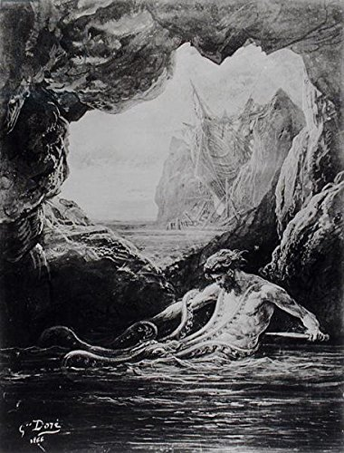 "Bierdeckel-Bild 9 x 9 cm: ""Gilliatt struggles with the giant octopus, illustration from Les Travailleurs de la Mer by Victor Hugo (1802-85) 1866 (litho) (b/w photo)"", Bild auf Bierdeckel"