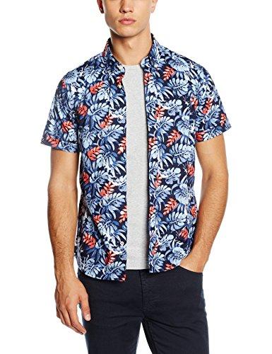 Tommy Hilfiger Leaf Pineaple, Camicia A Maniche Corte, Uomo, Blu (Navy Blazer), Medium