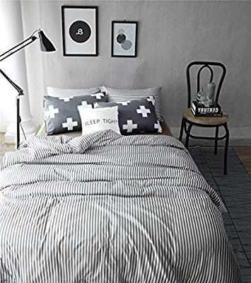 TheFit Paisley Textile Bedding for Adult U692 Dark Grey and White Long Strip Plus Health Duvet Cover Set 100% Cotton, Twin Queen King Set, 3-4 Pieces
