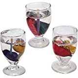 Indian Ocean 3 Piece Set Of Transparent Wine Glass Multi Color Small Size Candle IOC-037