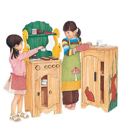 Beautifully Crafted Solid Wood Rabbit Refrigerator with Two Shelves
