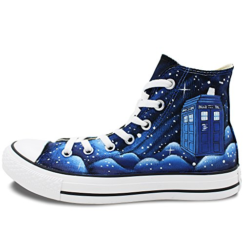 Converse All Star Tardis Blue Nebula Galaxy Hand Painted Unisex high Top Canvas Shoes