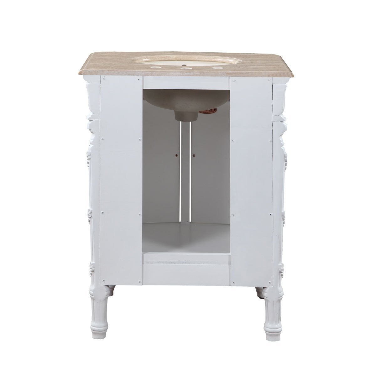 Silkroad Exclusive Travertine Top Single Sink Bathroom Vanity with White Oak Finish Cabinet, 26-Inch 4