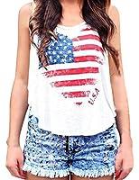 CMGD Womens American Flag Print Tee Shirt USA Tops