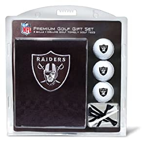 NFL Oakland Raiders Embroidered Golf Towel (3 Golf Balls 12 Tee Gift Set) by Team Golf